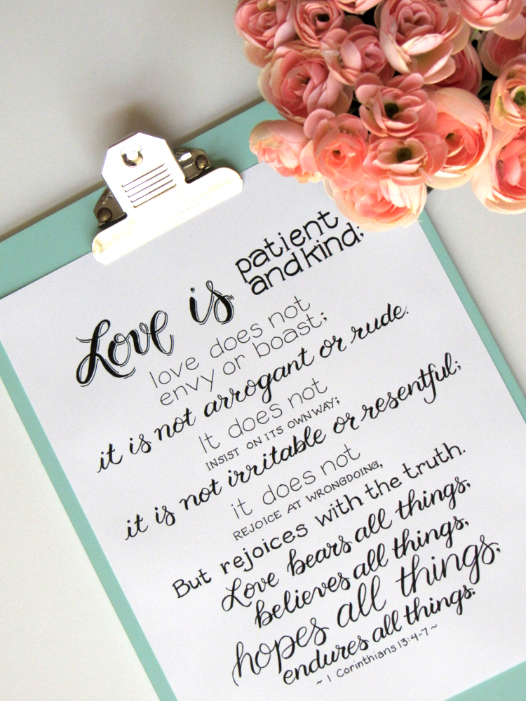 1 Corinthians 13:4-7 Printable - Love Endures All Things, but how? Find out on the blog