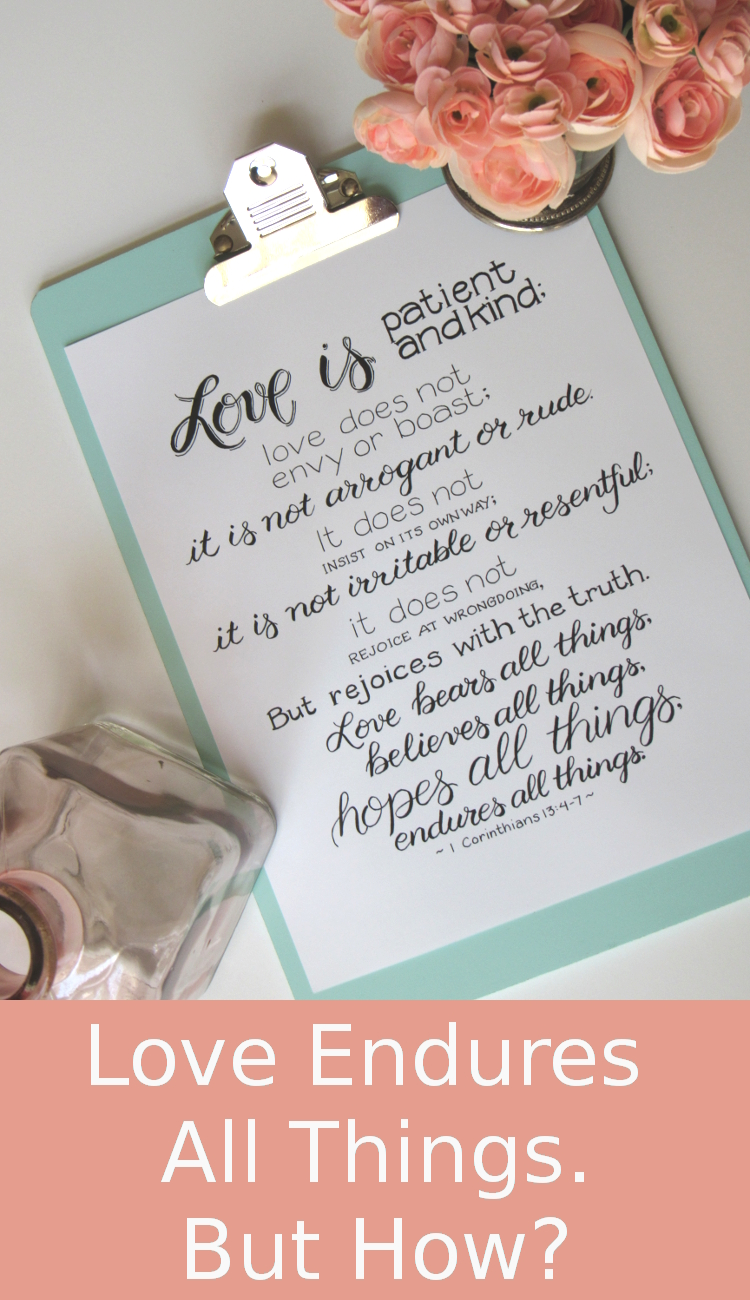 1 Corinthians 13:4-7 Printable - Love endures all things - Read the blog to find out how.