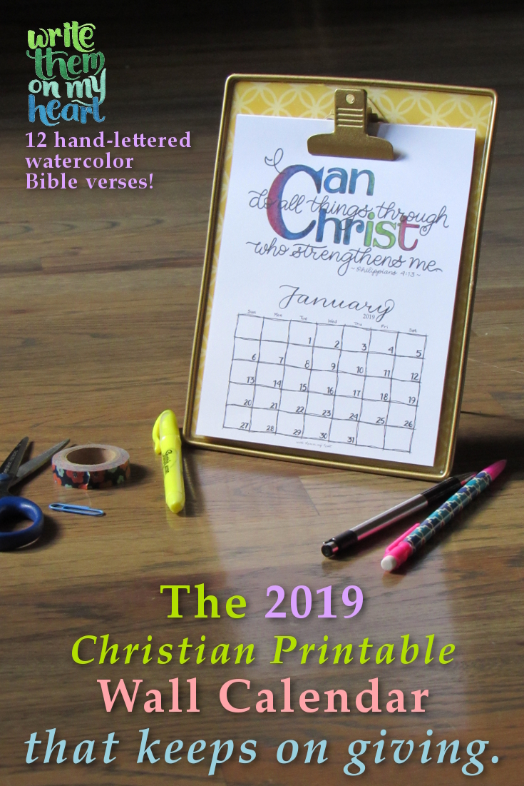three 2019 christian printable wall calendars