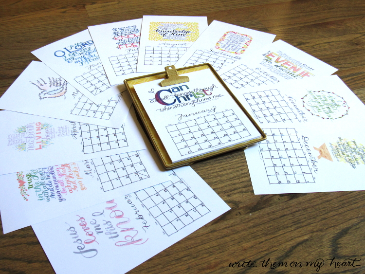Two 2019 Christian Printable Wall Calendars Write Them On My Heart