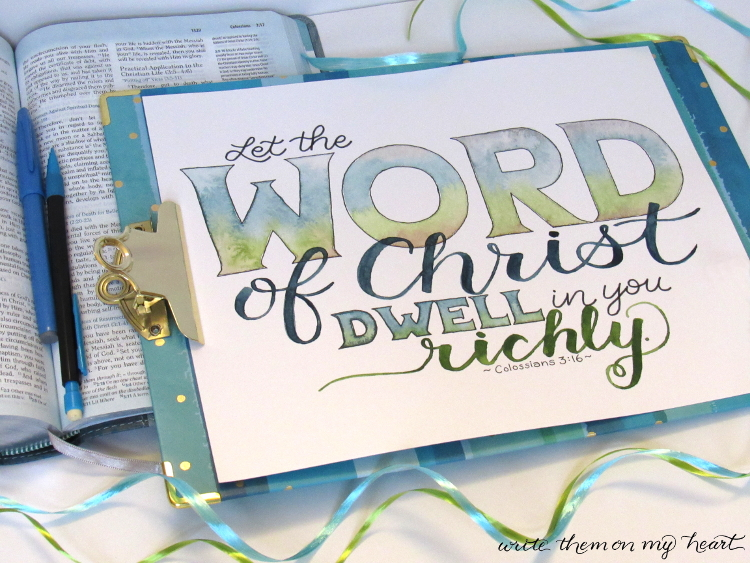 Learn how and why it is a big blessing to hand-write Bible verses with one word in all caps. Join our community in hand-writing these treasures together - 7 at a time! #write7onmyheart