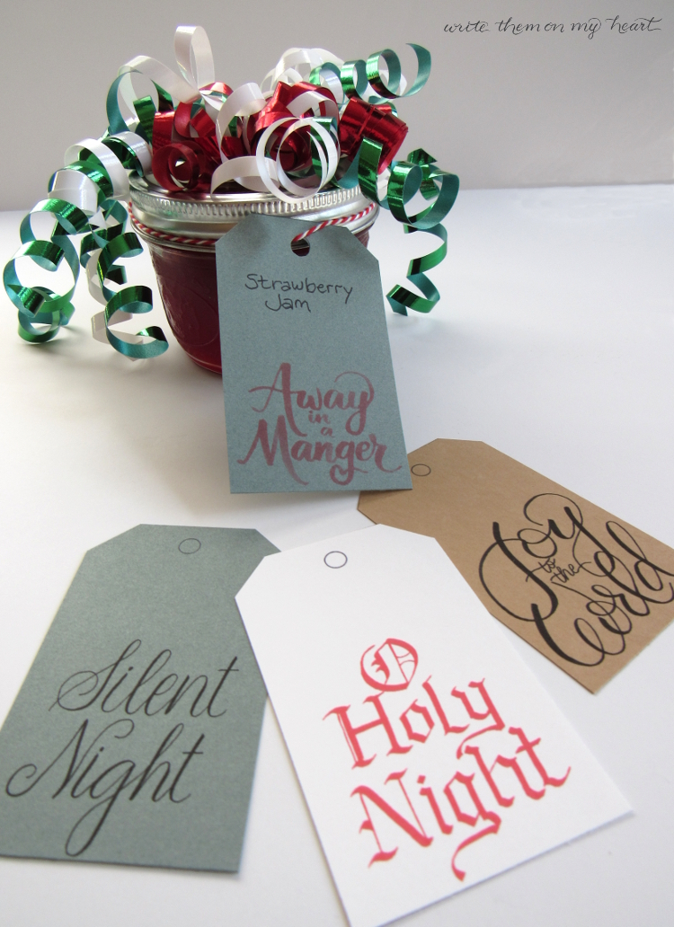 Free Gift Tags with your favorite Christmas Hymns in four different types of calligraphy! Simply download, print, cut, and add string!