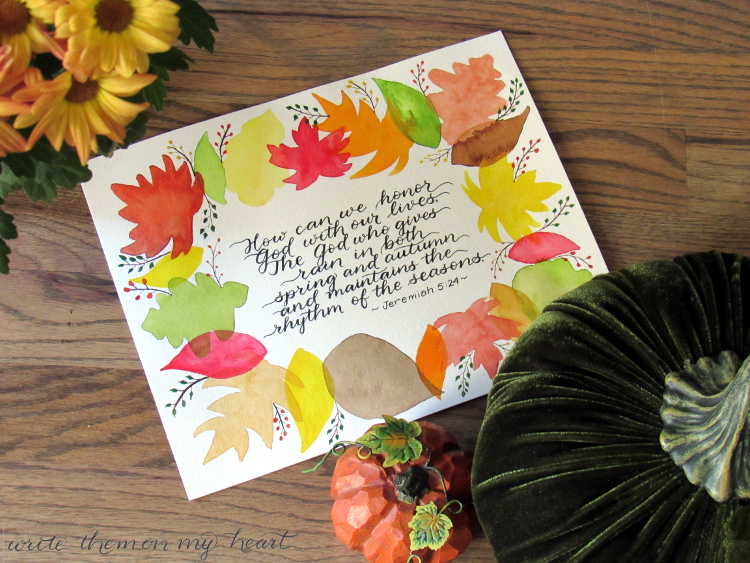 Autumn is only mentioned in the Bible in a few verses. Let's cozy up to the Lord and see what He wants us to know about the Fall season. Watercolor printable too!