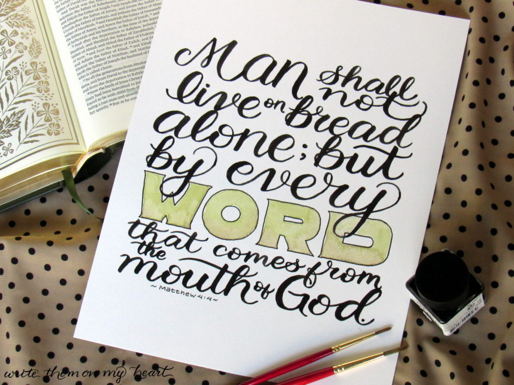 Matthew 4:4 Scripture Art by Write Them On My Heart