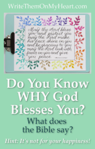 Do you know WHY God blesses you? Genesis 12:2 and 2 Corinthians 9:11 give the answer. Hint - it's not for your comfort and happiness!