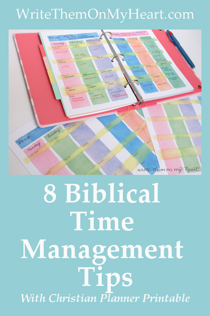 At last - a Weekly Vertical Planner Printable using 8 Biblical time management principles. Seize your week with this watercolor Christian weekly planner!