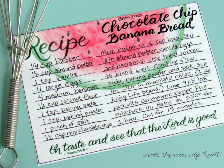 Psalm 34:8 Recipe Card Printable for Chocolate Chip Banana Bread Grain-Free