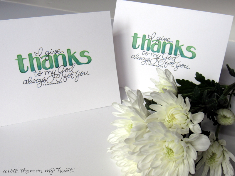 Thank You Cards with Bible verse 1 Corinthians 1:4