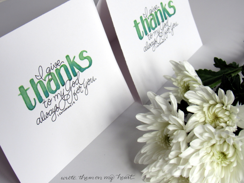 Thank You Card with Bible verse 1 Corinthians 1:4
